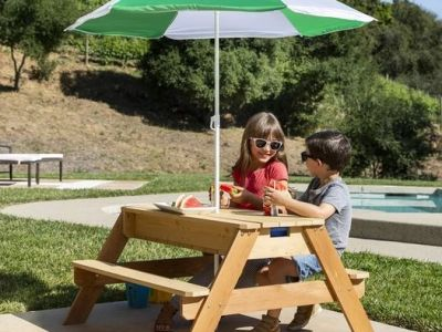Best Choice Products: 3-in-1 Kids Convertible Wood Sand & Water Picnic Table w/ Umbrella, Just $104.99 (Reg $209.99) after code!