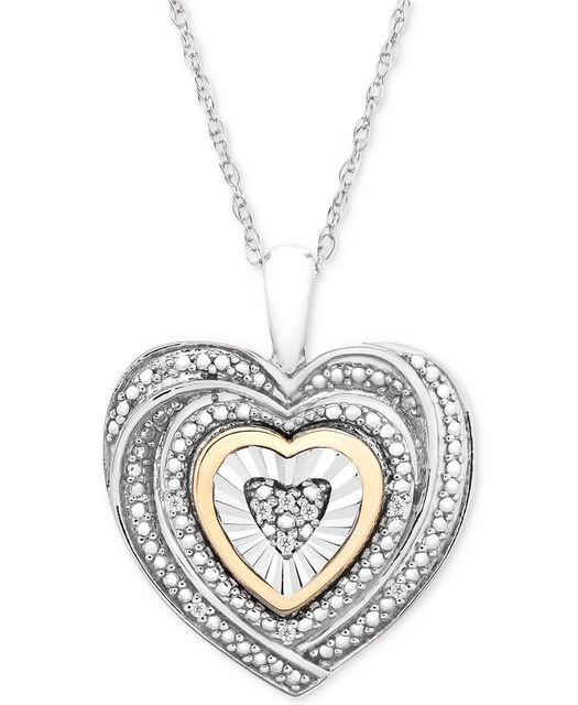 Macy's: Diamond Accent Two-Tone Heart Pendant Necklace in Sterling Silver and 10k Gold, Just $60.00 (Reg $200.00)