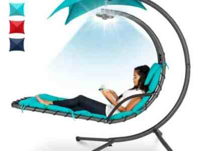 Best Choice Products: Hanging LED-Lit Curved Chaise Lounge Chair w/ Pillow, Canopy, Stand, Just $209.99 (Reg $299.99)