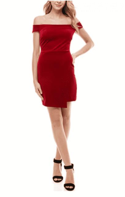 Macy's: Crystal Doll Juniors' Velvet Off-The-Shoulder Bodycon Dress for $12.93 (Reg. Price $49.00)