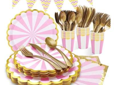 Amazon: Pink and Gold Disposable Party Supplies Set $11.59 (Reg. Price $28.99) at checkout!