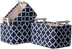 Amazon: 3 Pack Fabric Small Storage Baskets with Wooden Handles for ONLY $13.99 (Reg. $27.99)
