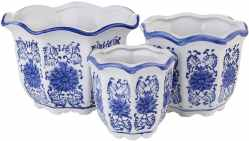 Amazon: Set of 3 Blue and White Porcelain Flower Pots $12.60 (Reg. $68.99)