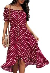 Amazon: Off Shoulder Polka Dot Maxi Dress $7.75 (Reg. $30.99)
