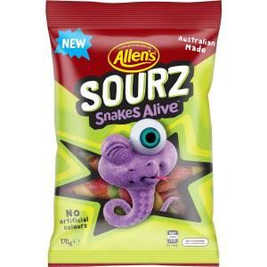 Allens Sour Snakes Alive Lollies Bag 170g