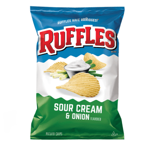 Ruffles Sour Cream and Onion Potato Chips Large Bag 500g
