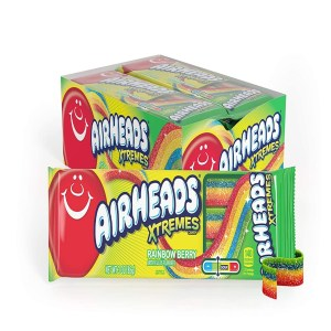 Airheads Xtremes Sweetly Sour Rainbow Berry Straps Candy Lollies Pack 56g X 18 Packs