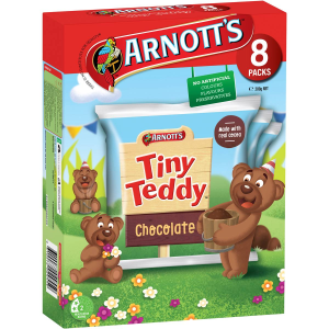 Arnotts Tiny Teddy Teddies Biscuits Chocolate Box 8 Pack