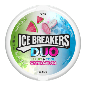 Ice Breakers Duo Sugar Free Mints Fruit and Cool Watermelon Flavour Tub 42g X 8 Tubs
