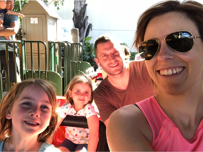 Dean and Marcie Whalen with Daughters on Roller Coaster