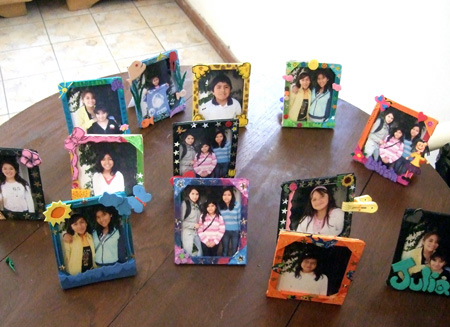 Photo frames from lollypop sticks