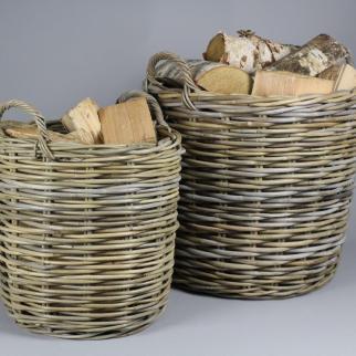 Round Log Baskets - Fireside