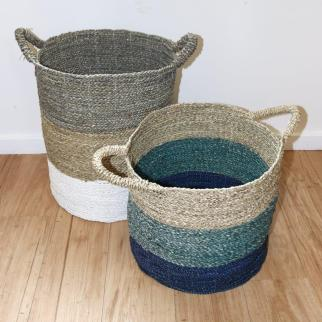 Fine weave coloured carry baskets