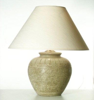Large Engraved Floral Table Lamp