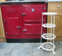 Victorian style 4 tier Cream painted iron pot stand. Height: 79cm Width 35cm