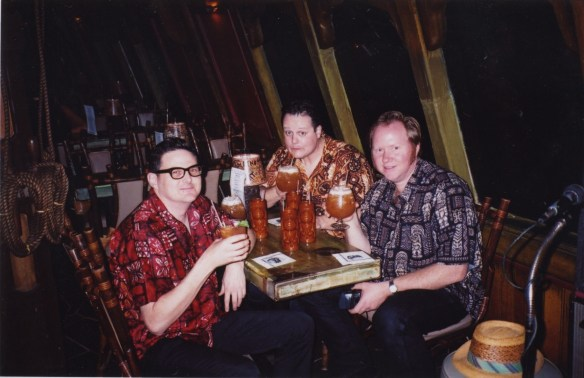 Enjoying tropical cocktails in the Molokai bar with my buddies Jeff and Bruce on my next visit in 2002