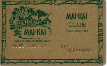 Mai Kai Club Card front