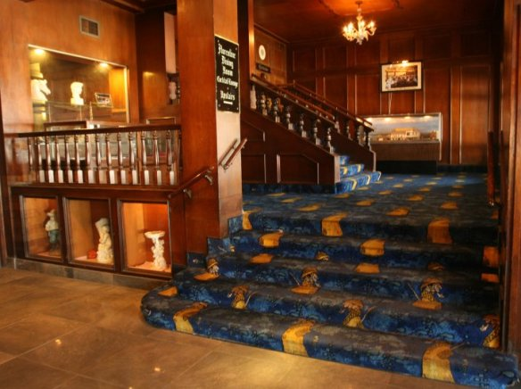 stairway to upstairs Fireplace Lounge and Florentine Dining Room