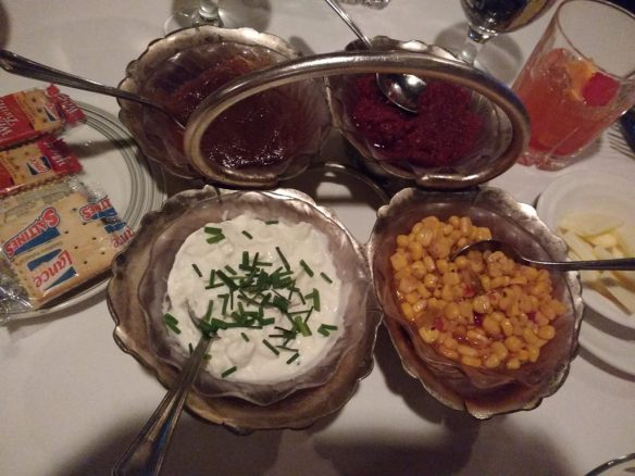 relish tray of (clockwise from LL) farmers cheese, apple butter, beet horseradish, and corn relish - photo by Dean Curtis, 2016