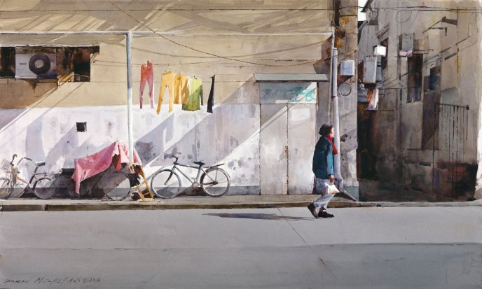 """<strong style=""""color: red;"""">SOLD</strong>  Shanghai Neighborhood  19"""" x 30""""  Watercolor"""