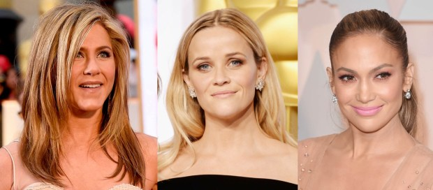 Jennifer Aniston, Reese Witherspoon, and Jennifer Lopez let their natural beauty shine through with a natural make up look.