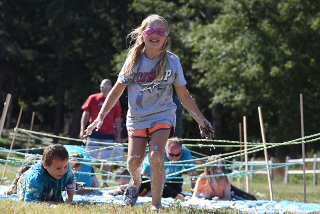 Daisy does messy games during her week at Camp Indianola, and emerges victoriously.