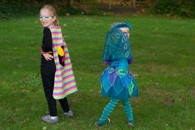 Rainbow Zap and Peacock - only one of these costumes is homemade.