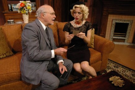 Margot in Dial M for Murder at Florida Rep. Photo by Chip Hoffman. With Tad Ingram
