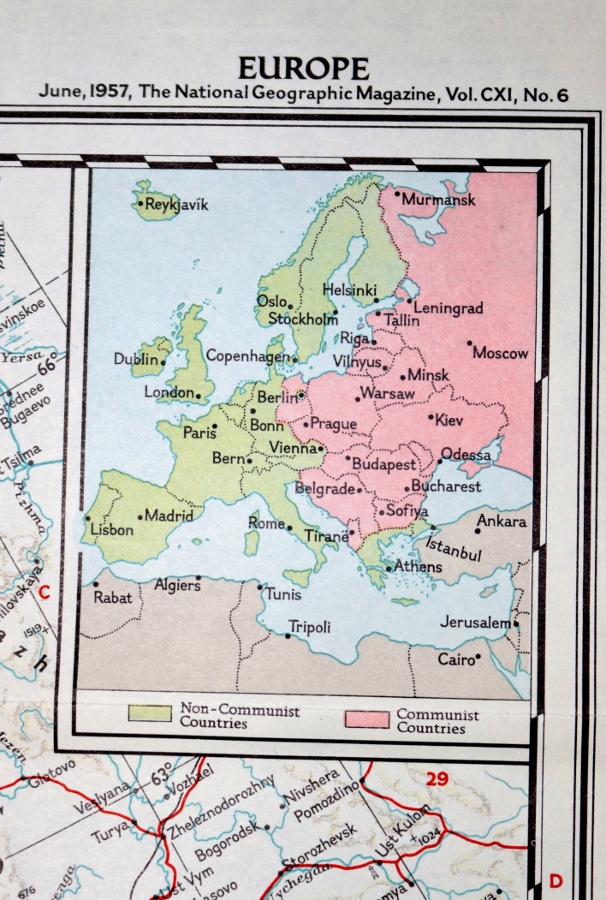 A Curiosity Shop Find – An Original 1957 National Geographic Map of a Divided Europe