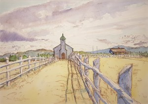 Dean Tatam Reeves artwork entitled McDougall Memorial United Church, Morley, Alberta
