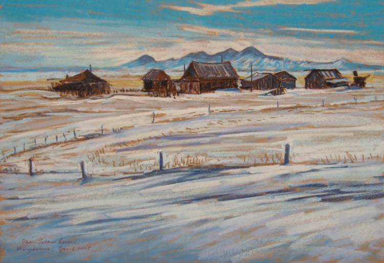 Manyberries Homestead, pastel by D.T. Reeves