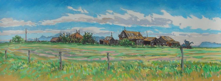 pastel entitled Manyberries Homestead, D.T. Reeves