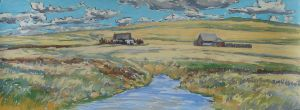 Ranchviille Homestead in Spring, pastel by D.T. Reeves