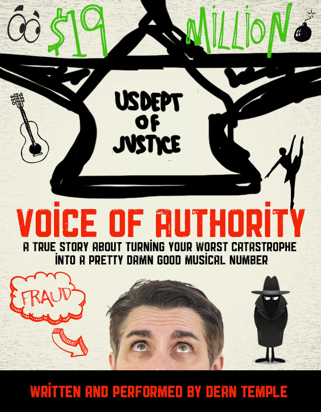 Voice of Authority show poster, written and performed by Dean Temple
