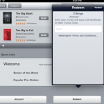 redeem iTunes giftcard for iPad/iBooks