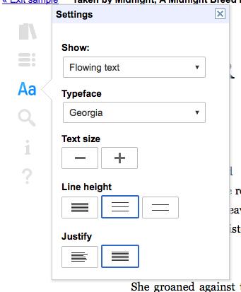 Google Books customize web reader options