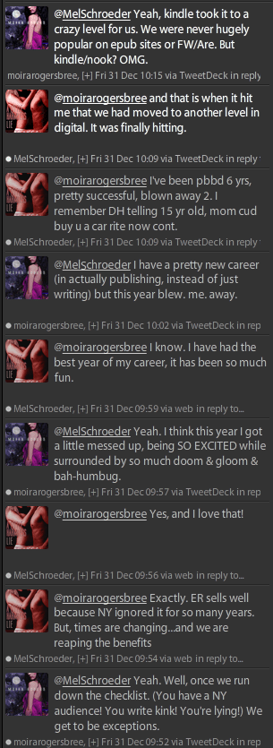 Twitter conversation between Moira Rogers and Mel Schroeder