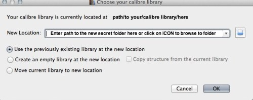 move library to new location calibre