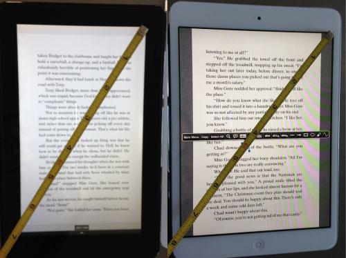 size comparison between Kindle Fire and iPad Mini