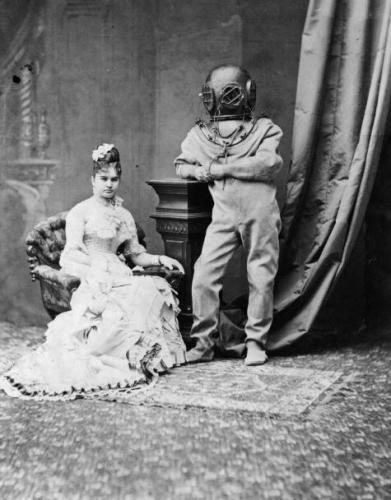 Victorian photograph with helmet