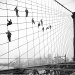 Painters hanging out on the Brooklyn Bridge