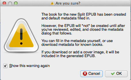 Using ePub Split to create individual books from your collection of