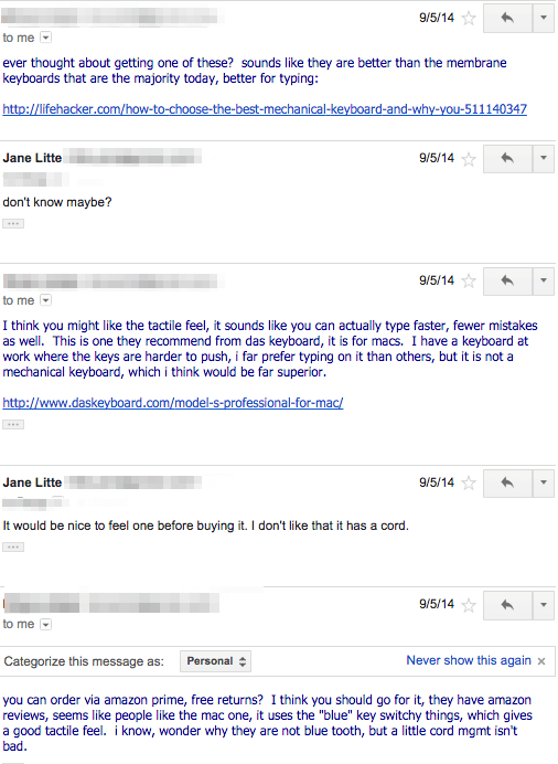 email re mechanical keyboard
