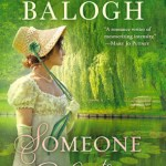 Brunette lady in a straw bonnet with green ribbons and a sprigged muslin Regency dress and long gloves standing/overlooking a lake lined with Weeping Willow trees