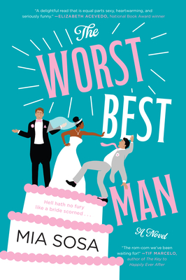 Illustrated cover with a Black bride (from the text we know she's Afro-Latinx) on top of a wedding cake pushing a dark-haired white man off the top of the cake. A lighter-haired white man is on the top of the cake with the bride. He's shrugging.