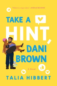 Illustrated cover mostly in yellow, with a bearded Brown man holding a Black woman in his arms (like a bridal carry). She has short pink hair and is wearing a black dress and heels.
