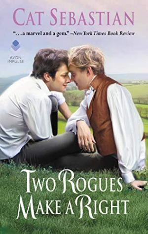 Two young white men in casual Regency attire sit on a grassy hill in the countryside with facing one another with their foreheads together
