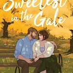 Illustrated cover of a fat white woman with short brown hair sitting on a park bench holding hands with a bearded white guy dark hair, in the background of autum colours, the leaves are being blown off the trees by a high wind