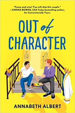 illustrated cover of two young white men, one with dark hair and one with red hair, sitting on a landing/some steps talking to one another