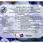 "Dec. 6 ""Glitter, Glass, Giving"" Benefit for Dearborn Community Fund"